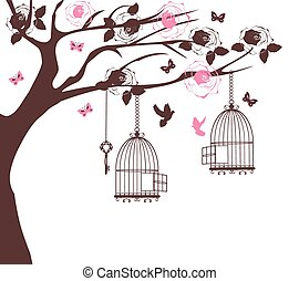 bird cage tree  - vintage card with tree and bird cages