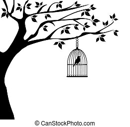 vector tree with bird cage