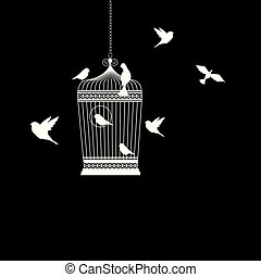 bird cage with birds flying vector illustration