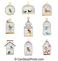 Bird cages with different birds set of vector Illustrations...