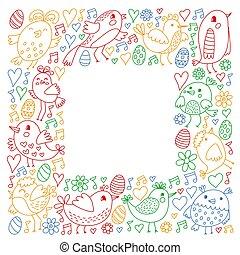 bird., carino, stile, icone, scarabocchiare, collezione, mano, disegnato