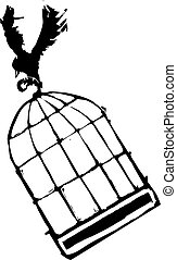Bird Carrying Birdcage - Bird Carrying off a birdcage into...
