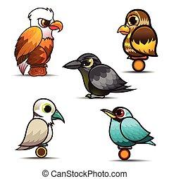 Bird cartoon set collection