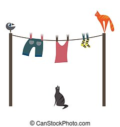 Bird, cats and laundry, vector or color illustration. - A...