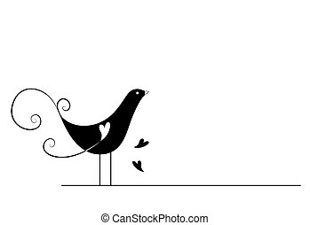 Bird - Black and White Series: Bird with Clipping Path