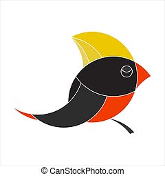 Bird colorful flat logo icon template. Vector illustration.