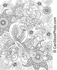 bird coloring page - elegant bird coloring page with floral...