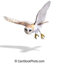 bird., coruja, cortando, sobre, fazendo, caminho, sombra, 3d...