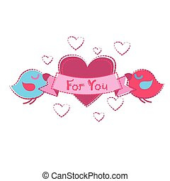 Bird Couple Holding Heart Shape Greeting Card Valentine Day