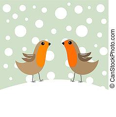 Bird couple in winter