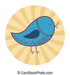 bird cute cartoon round icon