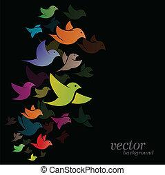 Bird design on black background