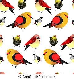 Bird different types of animals bullfinch seamless pattern...