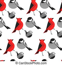 Bird different types of animals bullfinch seamless pattern...