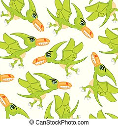 Bird dinosaur pterodactyl pattern.Cartoon prehistorical...
