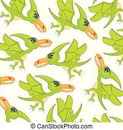 Bird dinosaur pterodactyl pattern.Cartoon prehistorical...