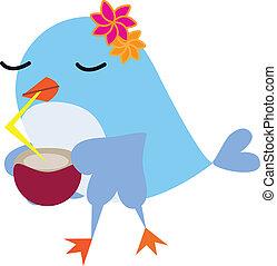Bird drinking juice with beak and flowers on the head
