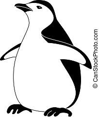 Antarctic bird emperor penguin, black silhouette on white background. Vector