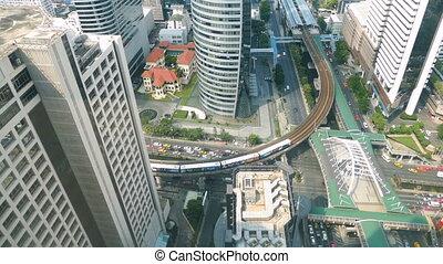 Bird eye view footage of cityscape  at Bangkok city
