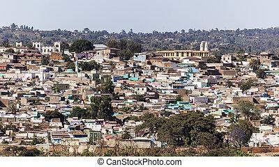 Bird eye view of ancient walled city of Jugol. Harar....