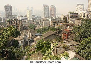 Bird eye view of Chongqing, China - Bird eye view of old and...