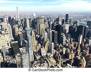 Bird eye view of New York City, Manhattan, USA
