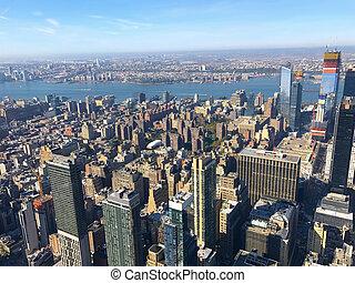 Bird eye view of New York City, Manhattan, USA