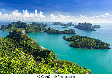 Sea beach island sky with bird eye view at Mu Ko Ang Thong. This place is a marine national park in the Gulf of Thailand.