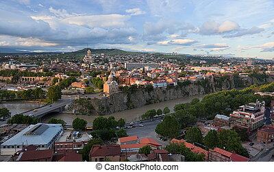 Panoramic view from Narikala Fortress. Tbilisi. Georgia.