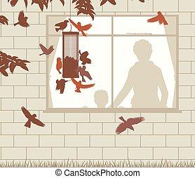 Bird feeder entertainment