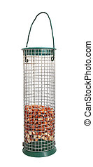 Bird feeder half full of peanuts, isolated on a white background