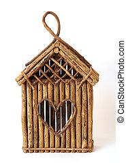 bird feeder house - hand made bird feeder house on white...