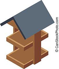 Bird feeder icon, isometric style
