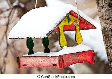 Bird feeder like a house