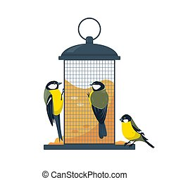 Bird feeder with eating tits birds