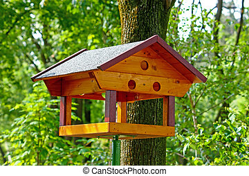 Bird feeder - Wooden bird feeder on a pole in the summer ...