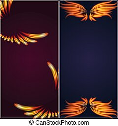 Bird fire wings fantasy banner feather burning fly mystic glow fiery burn hot art vector illustration on black.