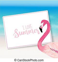 bird., flamingo, realistisch, text., tropische , hintergrund., vektor, meer, sandstrand, karte