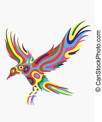 Bird flying abstract colorfully
