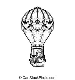 bird flying on a vintage hot air balloon sketch engraving vector illustration. T-shirt apparel print design. Scratch board imitation. Black and white hand drawn image.