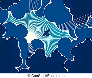 Bird flying towards the sun