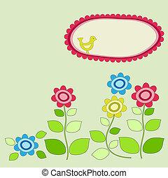 Bird frame with garden flowers. Vector illustration.