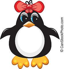 bird., girl., rysunek, pingwin