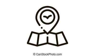 Bird Gps Mark Pin On Map Icon Thin Line . Bird Location And Position, Cartography Research Animal animated icon on white background