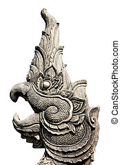 Bird head statues.