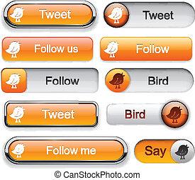 Bird high-detailed modern buttons.