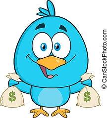 Bird Holding A Bags Of Money
