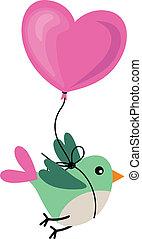 Bird Holding Love Heart Balloon