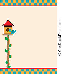 A background of a birdhouse and blue colored bird, atop a vine covered pole; includes a checkered header and footer.