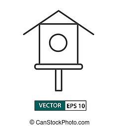 Bird house/ feeder icon. Outline style. Vector illustration EPS 10